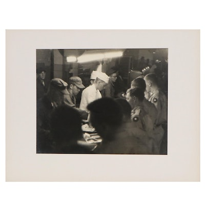 Silver Gelatin Photograph of Military Dinner, Mid 20th Century