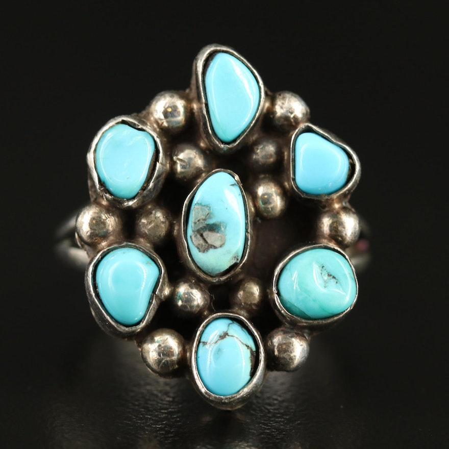 Sterling Turquoise Ring with Split Shank Design