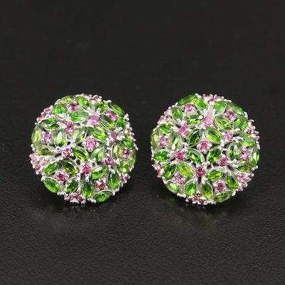 Sterling Silver Diopside and Rhodolite Garnet Dome Earrings