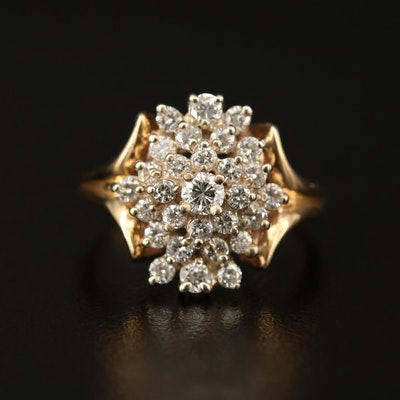 14K 1.00 CTW Diamond Cluster Ring
