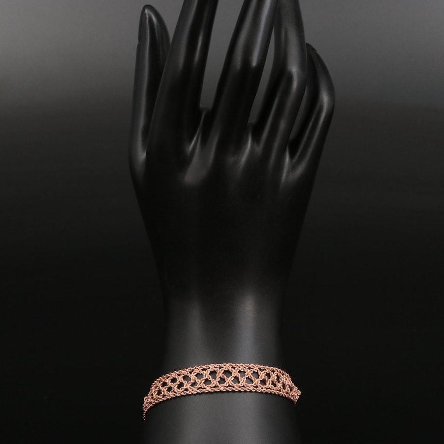 14K Rose Gold Woven Rope Bracelet
