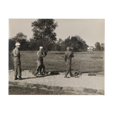 Silver Gelatin Photograph of Military Men in Training, Mid 20th Century