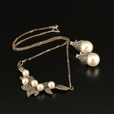Sterling Faux Pearl and Marcasite Stationary Necklace and Drop Earrings