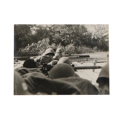 Silver Gelatin Photograph of Military Troop in Training, Mid 20th Century