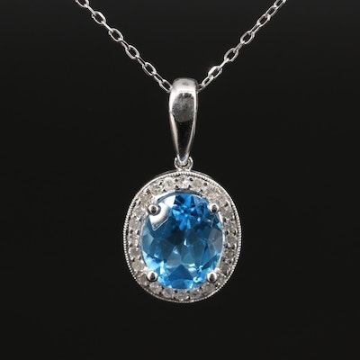 10K Topaz and Diamond 14K Cable Chain Necklace
