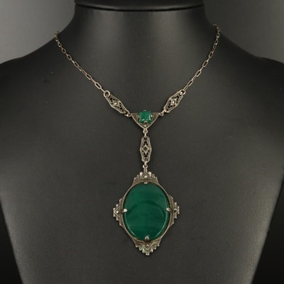 Art Deco Sterling Silver Chalcedony and Marcasite Pendant Necklace