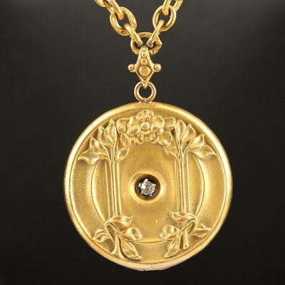 Art Nouveau Glass Paste Floral Locket Necklace