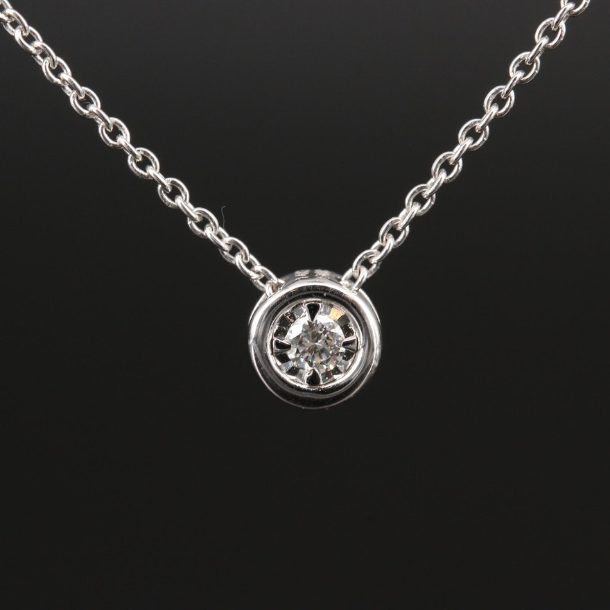 14K Diamond Slide Pendant and Station Necklace
