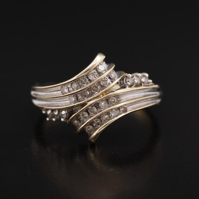 10K Diamond Bypass Ring
