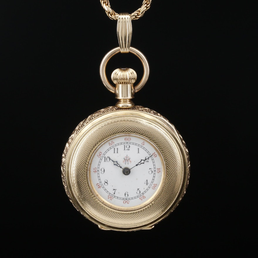 Antique American Waltham 14K Gold Pocket Watch on 14K Gold Chain Fob