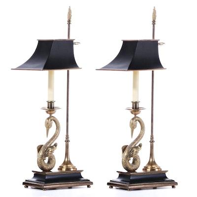 Pair of Chapman Swan Single Stick Bouillotte Brass Table Lamps
