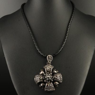 Sterling Silver Filigree Jerusalem Cross Pendant on Braided Cord Necklace