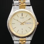 Citizen Two Tone DayDate Quartz Calendar Wristwatch