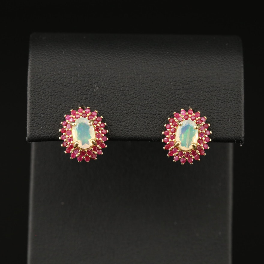 Sterling Silver Opal and Ruby Halo Earrings
