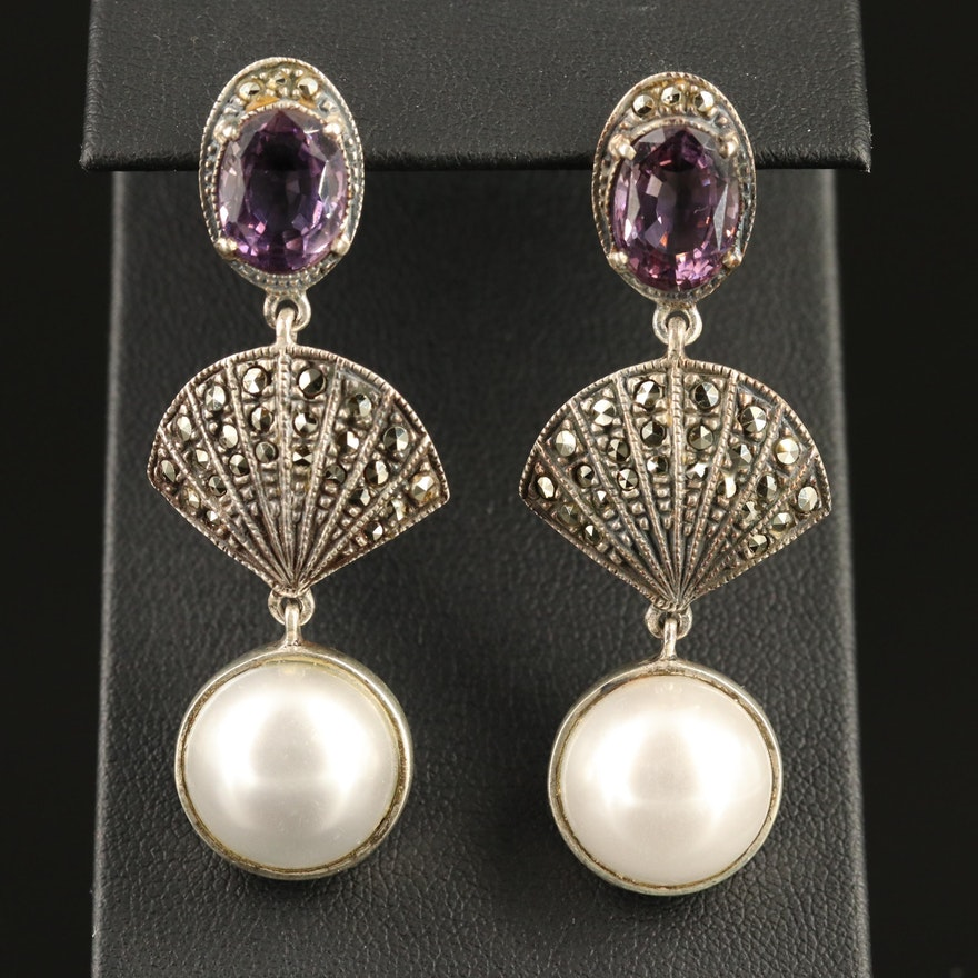 Judith Jack Sterling Amethyst, Faux Pearl and Marcasite Dangle Earrings