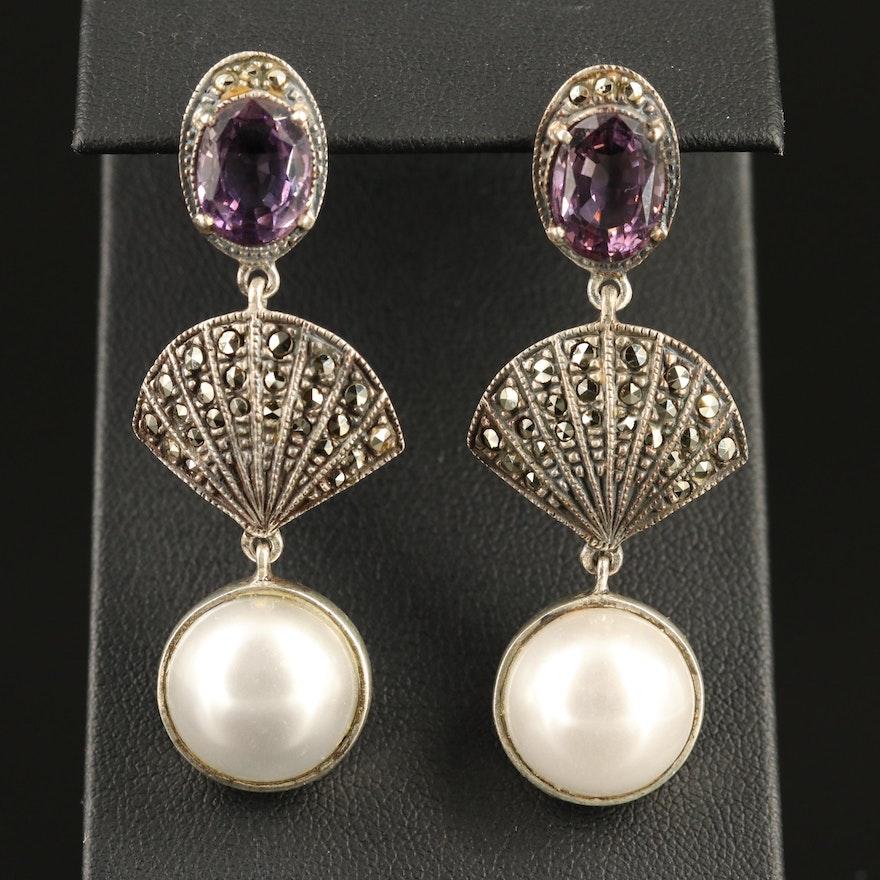 Judith Jack Sterling Amethyst, Faux Pearl and Marcasite Dangle Earrings