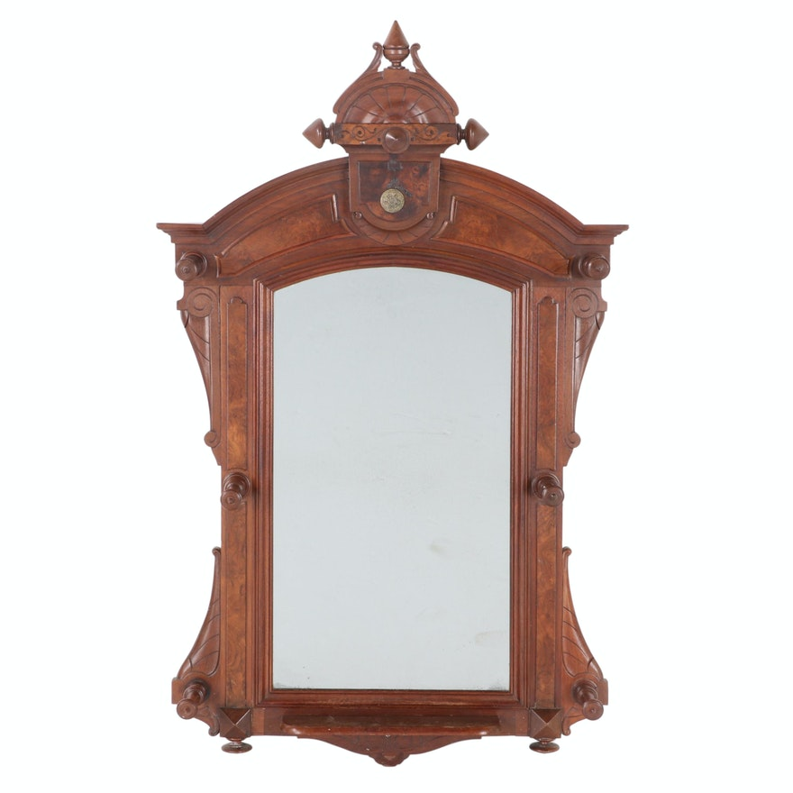 Eastlake Style Victorian Walnut Hall Mirror, Late 19th Century
