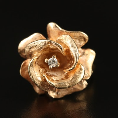 14K Diamond Floral Ring with Florentine Finish