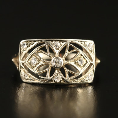 Art Deco 14K Diamond Floral Motif Ring