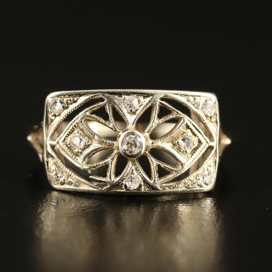 Art Deco 14K Diamond Floral Motif Ring