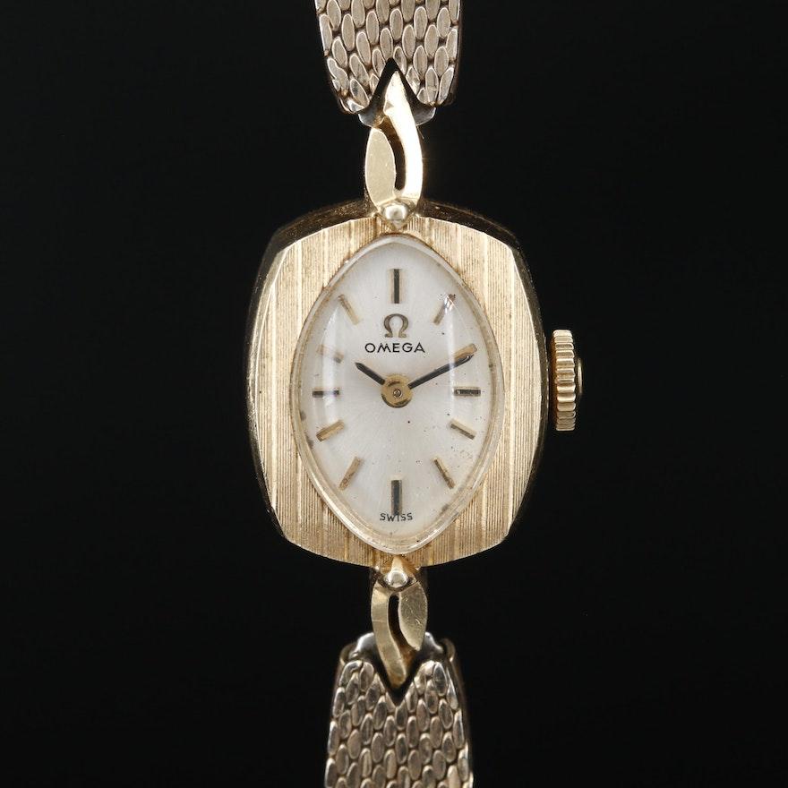 14K Omega Stem Wind Wristwatch, Circa 1969