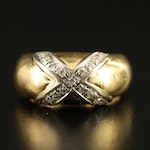 18K Diamond Cross Over Ring