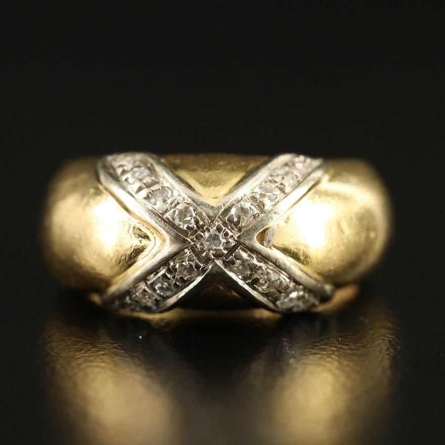 18K Diamond Cross Over Ring