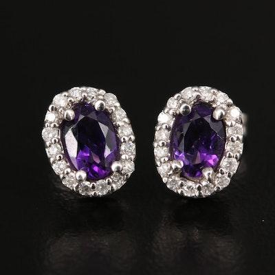 14K Amethyst and Diamond Halo Stud Earrings