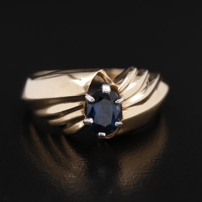 14K Sapphire Ring with Fluted Shoulders