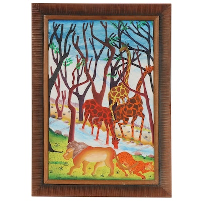 Smith Blanchard Folk Art Oil Painting of African Animals