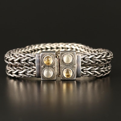 Lori Bonn Sterling Citrine and Moonstone Espiga Chain Bracelet
