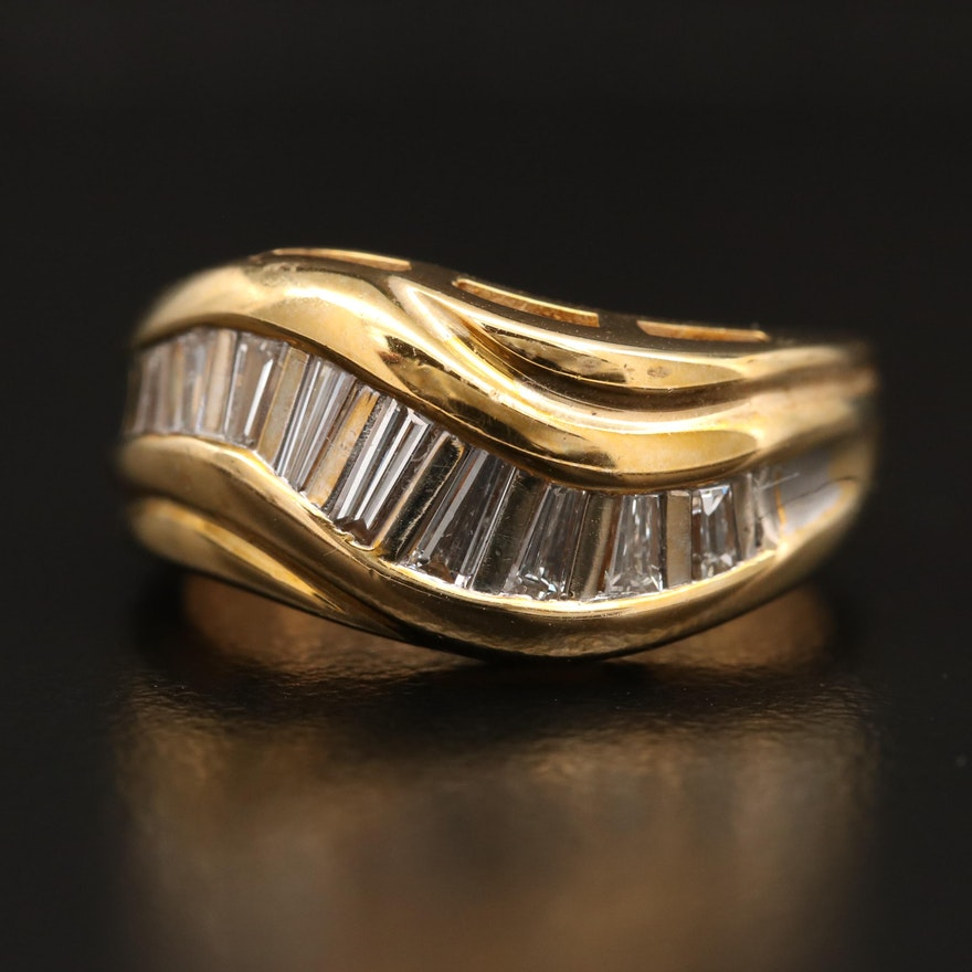 14K Diamond Wave Band