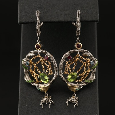 Sterling Silver Spider Motif Earrings with Peridot, Garnet and Diopside