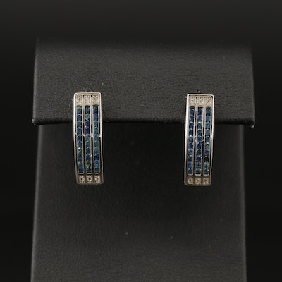 Sterling Silver Three Row Channel Set Sapphire and Topaz Earrings