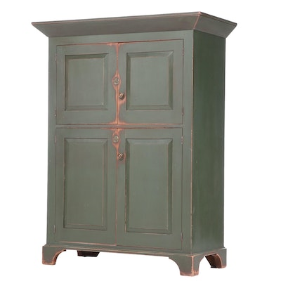 David T. Smith & Co. American Primitive Painted Cupboard, Late 20th Century