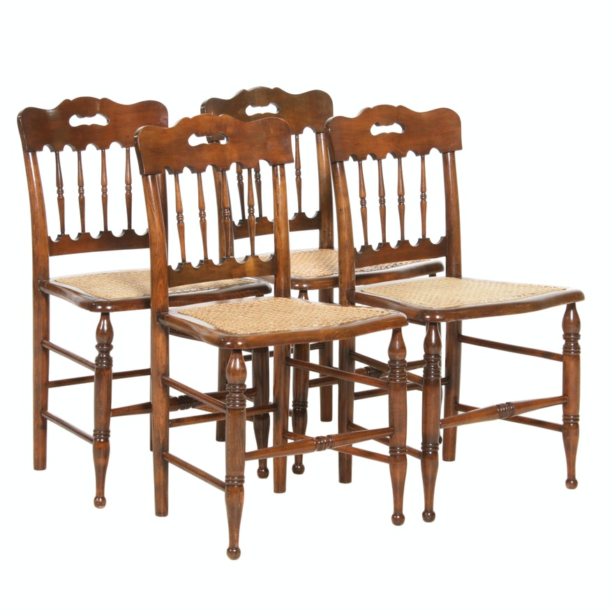 Victorian Caned  Walnut Side Chairs, Early to Mid 20th Century