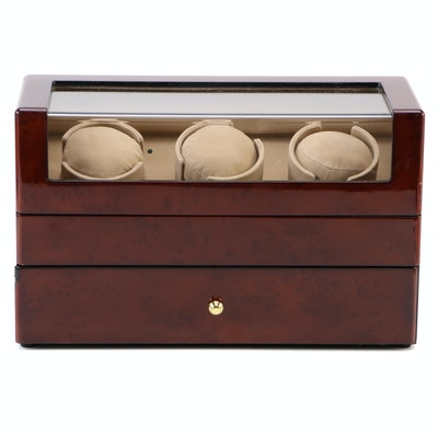 Triple Watch Winder and Case with High Gloss Burl Wood Finish