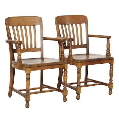 B. L. Marble Company Walnut-Stained Armchairs, Early to Mid 20th Century
