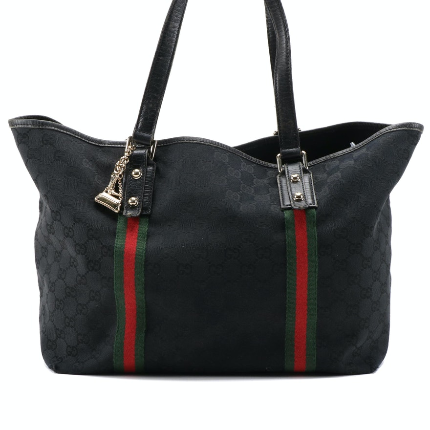 Gucci Jolicoeur GG Black Monogram Canvas Tote Bag