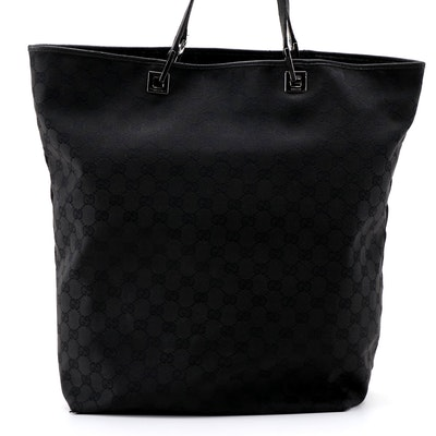 Gucci Black GG Canvas and Leather Shopper Tote