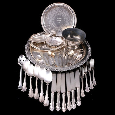 English and American Silver Plate Flatware and Serving Pieces
