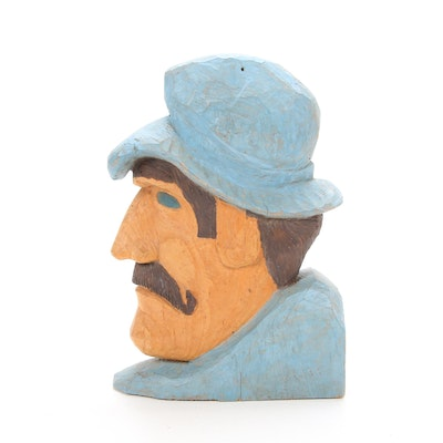 Folk Art Style Painted and Carved Wooden Head
