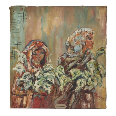 "Alek Rapoport Oil Painting ""Flower Sellers with Callas,"" 20th Century"