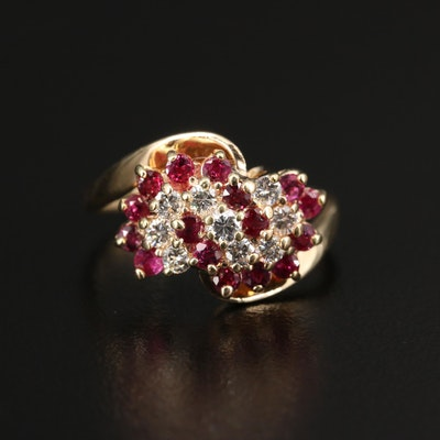 14K Diamond and Ruby Bypass Cluster Ring