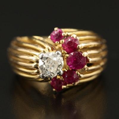 18K Diamond and Ruby Openwork Ring