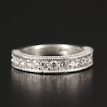 Platinum Diamond Milgrain Band