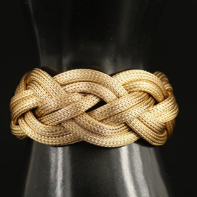 18K Braided Foxtail Chain Bracelet