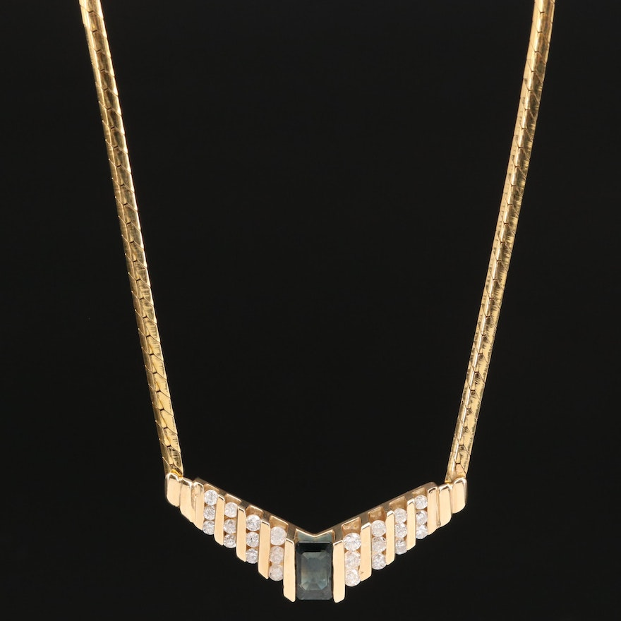 14K 1.00 CT Sapphire and Diamond Stationary Pendant Necklace