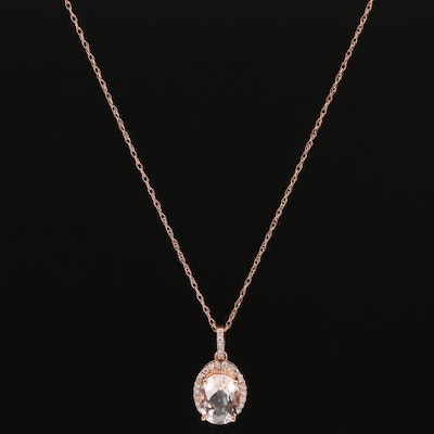 14K Morganite and Diamond Halo Pendant Necklace