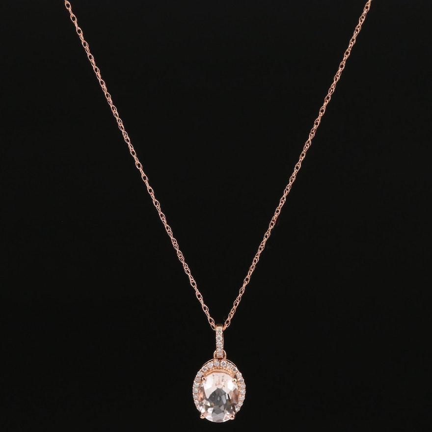 14K Morganite and Diamond Halo Pendant Necklace